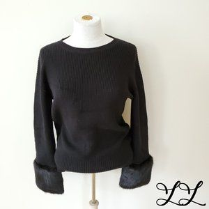 Love Token Sweater Faux Fur Crew Soft Oversized